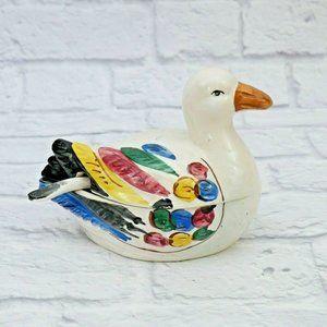 Handmade Sugar Bowl Hand Painted Ceramic Pottery